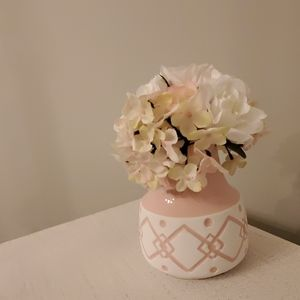 NWT FAUX FLOWER ARRANGEMENT WITH VASE